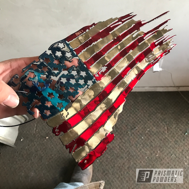 Powder Coating: Multi-Powder Application,Metal Art,Clear Vision PPS-2974,American Flag,Tattered Flag,LOLLYPOP RED UPS-1506,Stardust Blue PPB-4676,Art,Boutique Sign