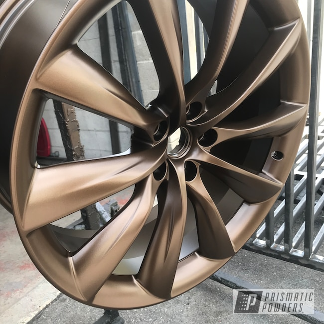 "Powder Coating: Wheels,Automotive,Bronze,22"",METALLIC BRONZE UMB-0336,22"" Wheels,Tesla Wheel,Metallic Powder Coating,2500"