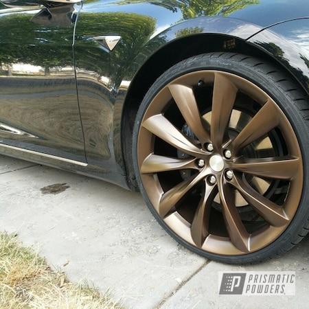 "Powder Coating: Wheels,Automotive,Bronze,22"",METALLIC BRONZE UMB-0336,22"" Wheels,Tesla Wheel,Metallic Powder Coating,2500"