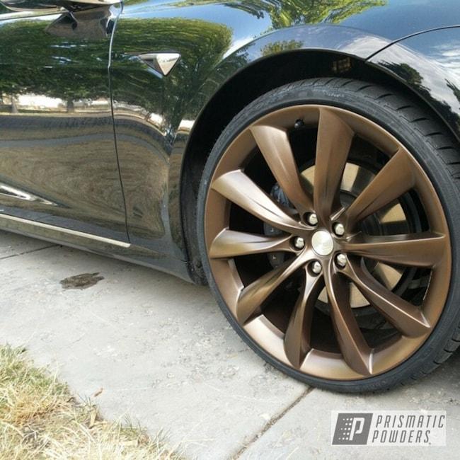 """Powder Coating: Wheels,Automotive,22"""",Tesla,METALLIC BRONZE UMB-0336,22"""" Wheels,bronze,Metallic Powder Coating,2500"""