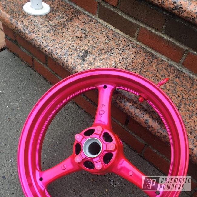 """Powder Coating: Wheels,Kawasaki,Kawasaki Motorcycle,Motorcycle Parts,ZX10R,17"""" Wheels,#zx10r,Motorcycles,Corkey Pink PPS-5875"""