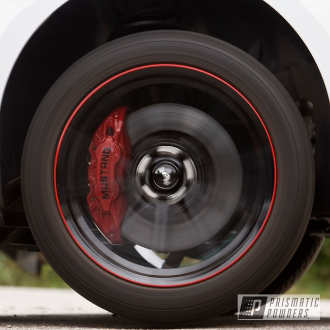 Ford Mustang Brake Calipers In Ink Black And Very Red Prismatic Powders