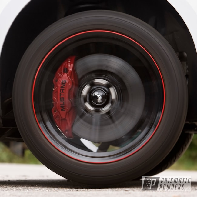 Powder Coating: Automotive,Ink Black PSS-0106,Brake Calipers,Ford Mustang,Very Red PSS-4971,Ford,Mustang,Powder Coat Wheels,Custom Brake Calipers