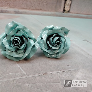 Powder Coated Teal Green Metal Roses