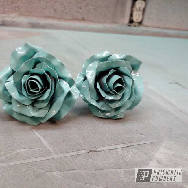Powder Coating: Metal Art,Sea Foam Green PSS-4063,Metal Roses,Art,Roses,Miscellaneous