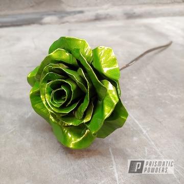 Powder Coated Green Metal Rose