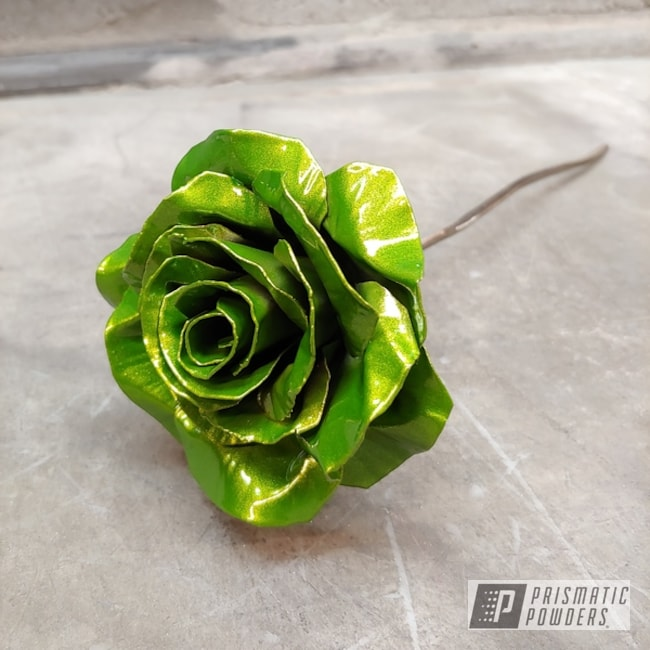 Powder Coated Green Metal Rose