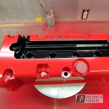 Powder Coated Red Honda Valve Cover