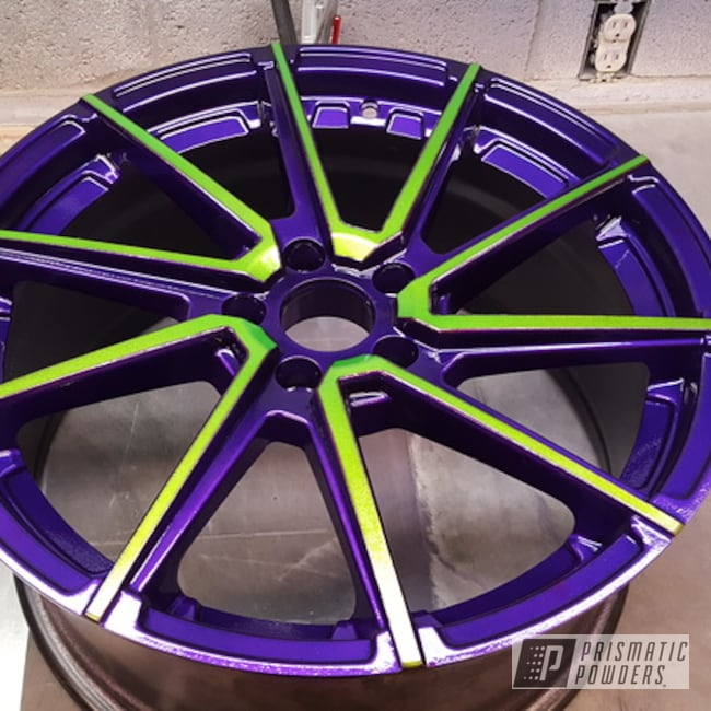 "Powder Coating: Illusion Purple PSB-4629,Wheels,18"",Automotive,Clear Vision PPS-2974,Illusion Sour Apple PMB-6913,18"" Wheels"