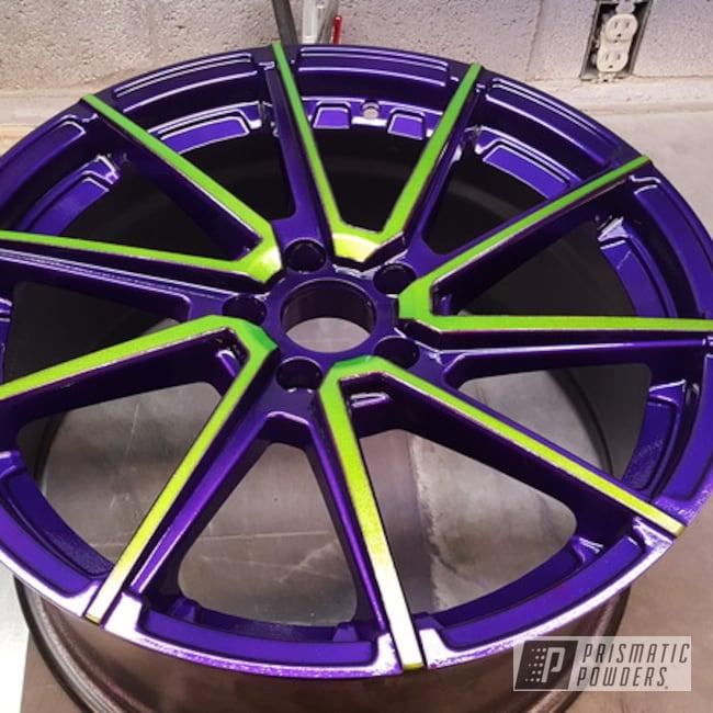 "Powder Coating: Illusion Purple PSB-4629,Wheels,18"",Automotive,Clear Vision PPS-2974,Illusion Sour Apple PMB-6913,18"" Wheels"