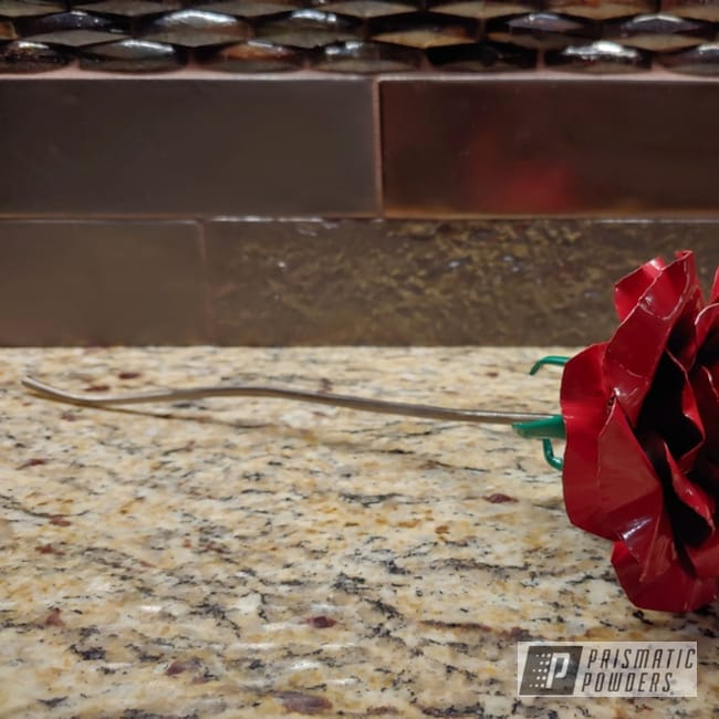 Powder Coated Red And Green Metal Rose
