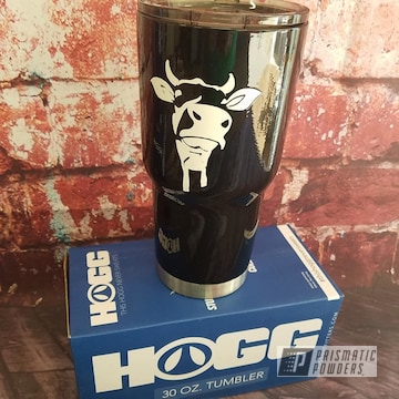 Powder Coated Drinkware With Custom Cow Decal