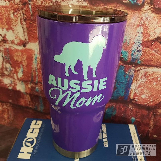 Powder Coating: Tropical Breeze PSS-6837,Custom Cups,2 Color Application,Drinkware,Dogs,30oz Tumbler,Crimson Purple PMB-2054