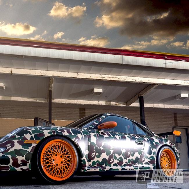 Powder Coating: Wheels,Automotive,Clear Vision PPS-2974,Powder Coated Automotive Wheels,Camo Car,Porsche,Melon Orange PSS-4972,Custom Powder Coated Porsche Wheels