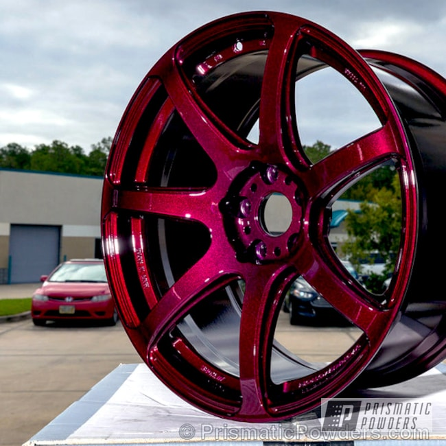 Powder Coating: Wheels,Custom Powder Coated Wheel,Automotive,Clear Vision PPS-2974,Automotive Wheel,Illusion Malbec PMB-6906
