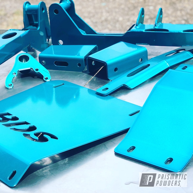 Powder Coating: HAWAIIAN TEAL UPB-1736,Automotive,Clear Vision PPS-2974,Heavy Silver PMS-0517,liftkit,Truck Lift,powder coated,BDS Suspension