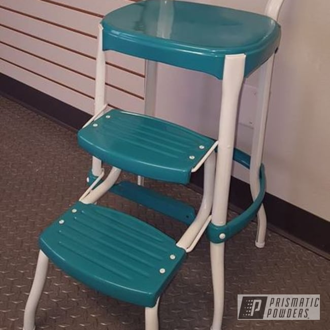 Powder Coating: RAL 1013 Oyster White,Powder Coated Vintage Furniture,RAL 5018 Turquoise Blue,Vintage Cosco Stool,Furniture