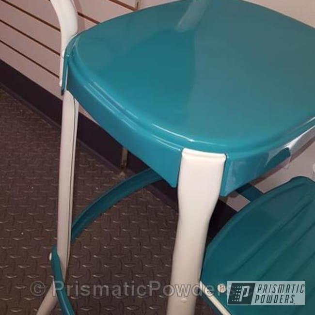 Powder Coating: Powder Coated Vintage Furniture,RAL 1013 RAL-1013,RAL 5018 RAL-5018,Vintage Cosco Stool,Furniture