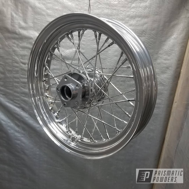 Powder Coating: Harley Davidson,Clear Vision PPS-2974,Harley Wheel,SUPER CHROME USS-4482,Motorcycles,Panhead