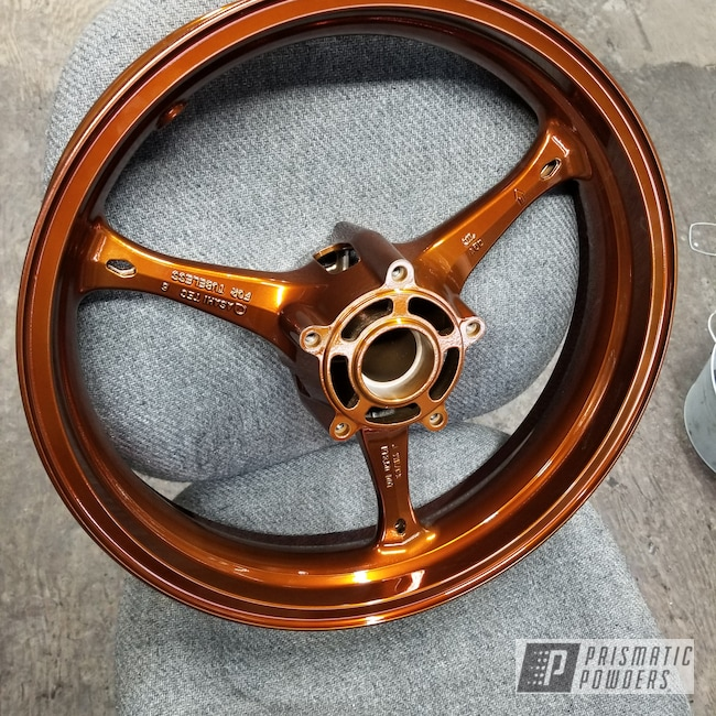 "Powder Coating: Wheels,Transparent Copper PPS-5162,SUPER CHROME USS-4482,17"" Wheels,GSXR,Suzuki,Motorcycles"