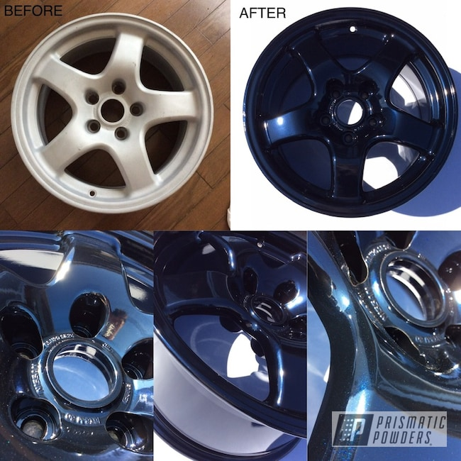 "Powder Coating: Wheels,GTR,Automotive,Nissan,Skyline,17"" Wheels,Dark Blue Metallic PMB-5701,Before and After,Nissan Wheels"