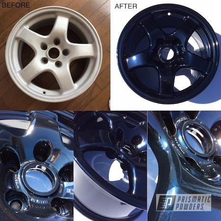 "Powder Coating: Wheels,GTR,Automotive,Nissan,Skyline,17"" Wheels,Dark Blue Metallic PMB-5701,Before and After,Nissan Wheels"