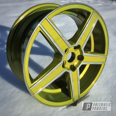 "Powder Coating: Wheels,Psycho Yellow PPS-2313,Automotive,18"",SUPER CHROME USS-4482,18"" Wheels"