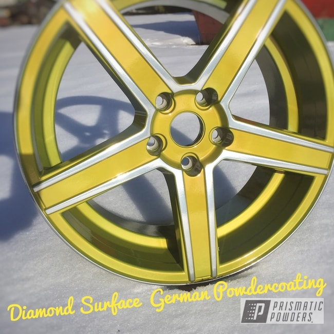 "Powder Coating: Wheels,Psycho Yellow PPS-2313,Automotive,18"",SUPER CHROME USS-4482,18"" Wheels"