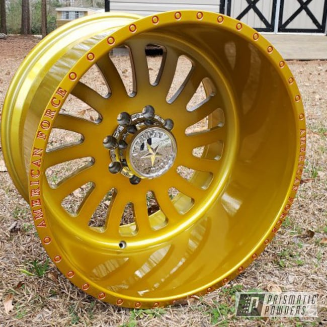"""Powder Coating: Wheels,Automotive,Illusion Gold PMB-10045,Clear Vision PPS-2974,Big Truck Wheels,Aluminum Wheel,22 inch,Truck Rims,Illusion Red PMS-4515,22"""",American Force,22 x 14"""