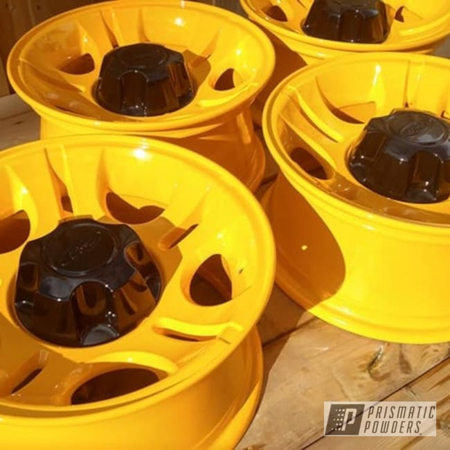 Powder Coated Yellow Two Tone Wheels