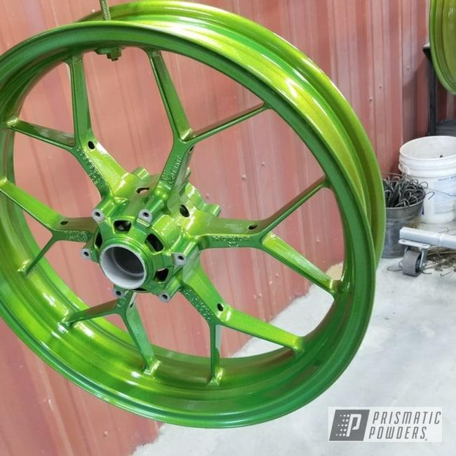 Powder Coated Crabapple Green Motorcycle Wheels