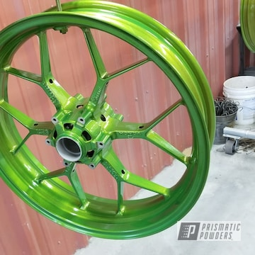 Powder Coated Crabapple Green Motorcycle Wheels