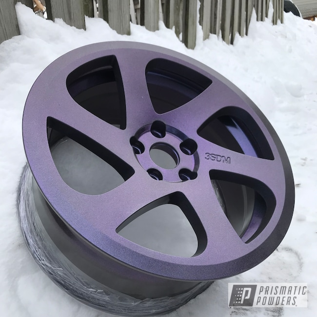 "Powder Coating: Wheels,18"",Automotive,Chameleon Violet PPB-5731,Powder Coated 18 Inch Wheels,STEALTH CHARCOAL PMB-6547,Purple wheels"