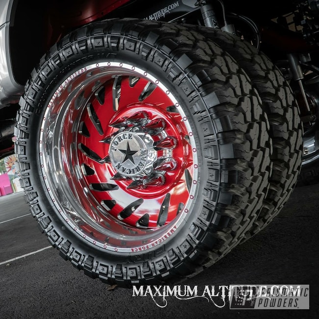 """Powder Coating: Wheels,Automotive,Forged Wheels,Clear Vision PPS-2974,Satin Aluminum,American Force 28"""",Ford,Wizard Red PPS-4690,Prismatic Gold HMB-4137"""