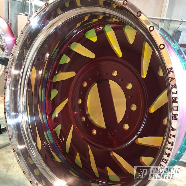 "Powder Coating: Wheels,Automotive,Forged Wheels,Clear Vision PPS-2974,Satin Aluminum,American Force 28"",Ford,Wizard Red PPS-4690,Prismatic Gold HMB-4137"