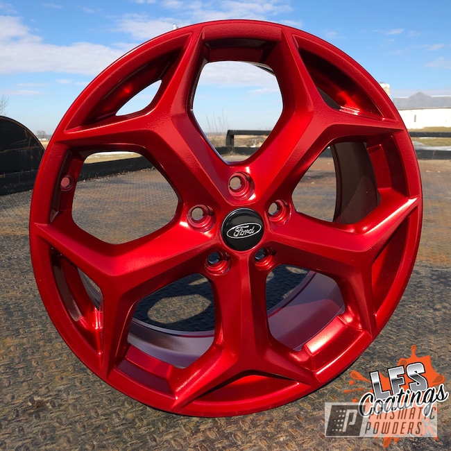 "Powder Coating: Wheels,18"",Automotive,SUPER CHROME USS-4482,St,Aluminium Wheels,Anodized Red PPB-5936,18"" Wheels,Focus,Ford"