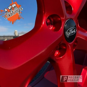 Powder Coated Red Ford Aluminum Wheels