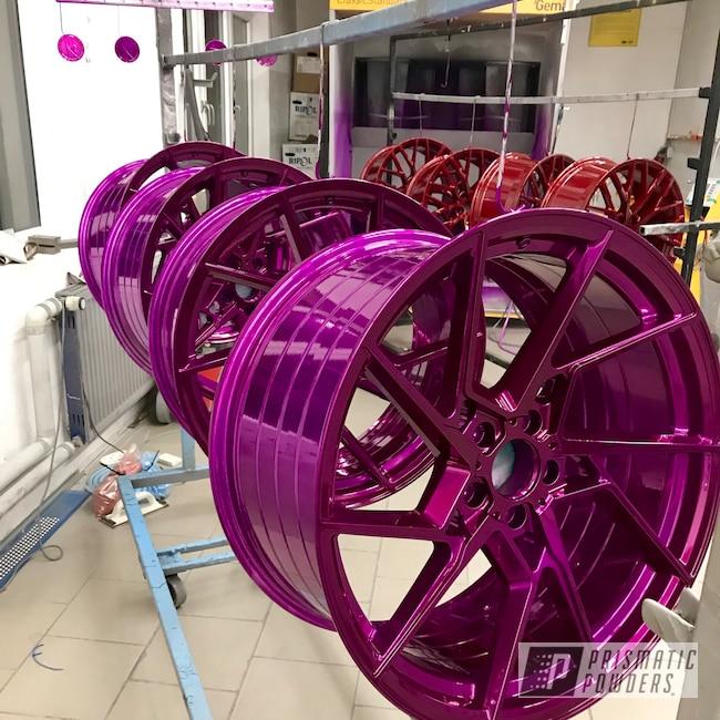 """Powder Coating: Wheels,Automotive,SUPER CHROME USS-4482,Purple Glaze PPB-2846,20"""" Aluminum Wheels,AMG C63"""