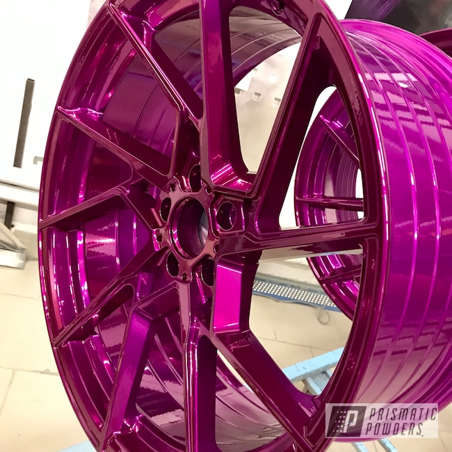 "Powder Coating: Wheels,Automotive,SUPER CHROME USS-4482,Purple Glaze PPB-2846,20"" Aluminum Wheels,AMG C63"