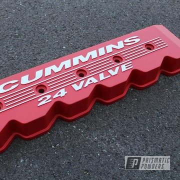 Powder Coated Textured Red Dodge Ram Cummins Valve Cover