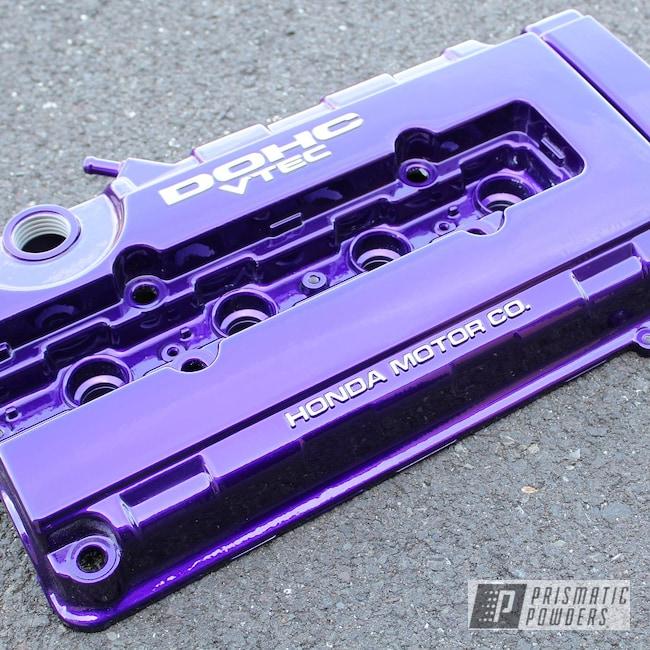 Powder Coating: Illusion Purple PSB-4629,Automotive,Clear Vision PPS-2974,B16,B18,Civic,Honda,Acura,Integra,Vtec,Valve Cover
