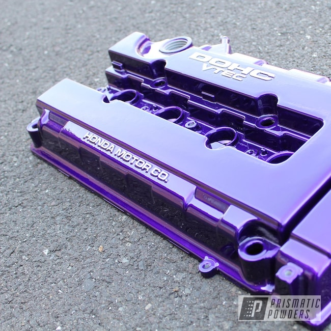 Powder Coating: Illusion Purple PSB-4629,Automotive,Clear Vision PPS-2974,B16,B18,Civic,Honda,Acura,Integra,Vtec,Valve Cover