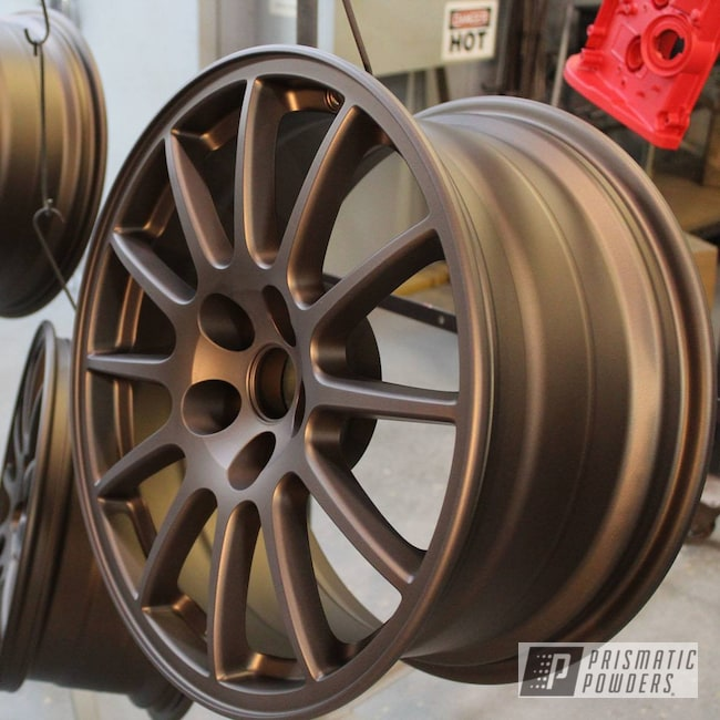 Powder Coating: Wheels,Automotive,Matte,Custom Powder Coated Rims,Bronze Chrome PMB-4124,Casper Clear PPS-4005
