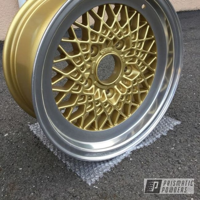 Powder Coating: Wheels,Custom,Automotive,Turbo RZR,Gold Medallion EMB-4175,911T,Porsche,BBS,Machine Cut,911