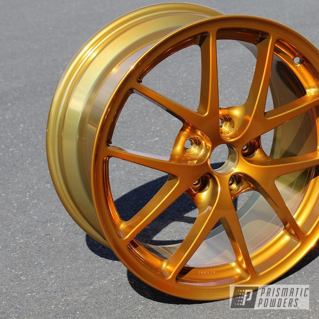 Powder Coating: Wheels,Automotive,Heavy Silver PMS-0517,Custom Wheels,Transparent Gold PPS-5139