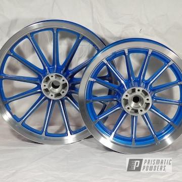 Powder Coated Blue Machine Cut Motorcycle Wheels