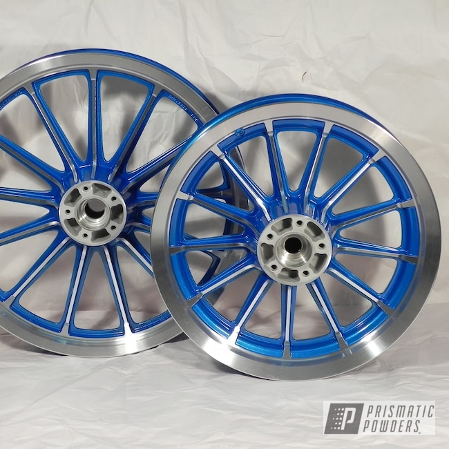Powder Coating: Wheels,Clear Vision PPS-2974,Illusion Blueberry PMB-6908,Motorcycle Wheels,Motorcycles,Machine Cut