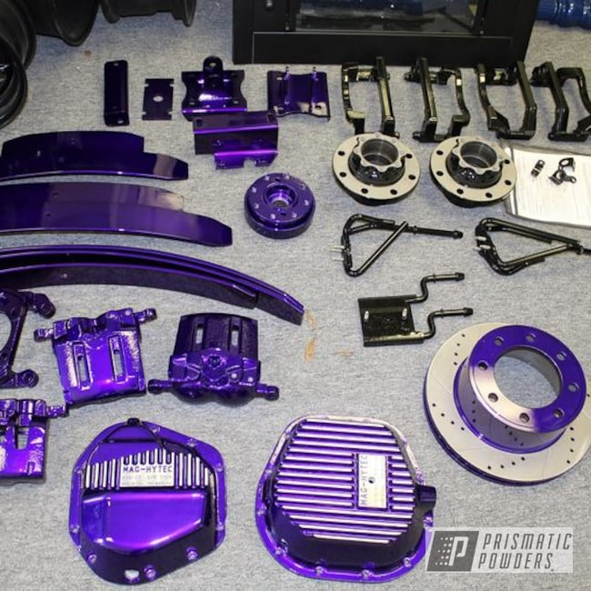 Powder Coating: Illusion Purple PSB-4629,Automotive,Clear Vision PPS-2974,Brake Calipers,Truck Suspension,Leaf Springs,Differential Cover,powder coated,Lifted Truck,Brake Rotors,Hubs