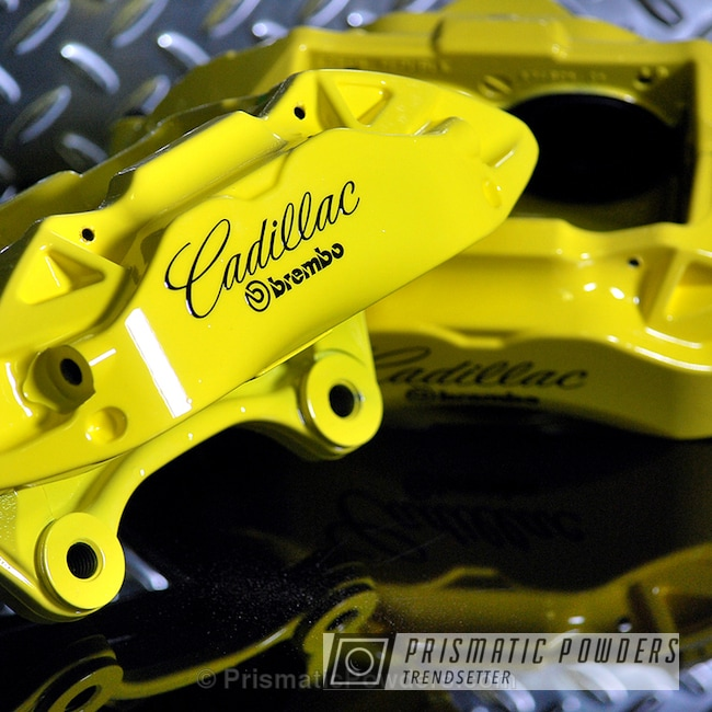 Powder Coating: Automotive,Clear Vision PPS-2974,Cadillac Brake Calipers,Custom Auto Parts,Two Coat Powder Coat Application,Electric Yellow PSS-2834