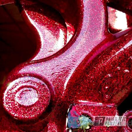 Powder Coating: Automotive,Boat Flake,Disco Red PPB-7044,Ink Black PSS-0106,Custom Powder Coated Parts